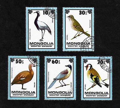 Stamps: Mongolia 1979 Birds short set of 5 values used