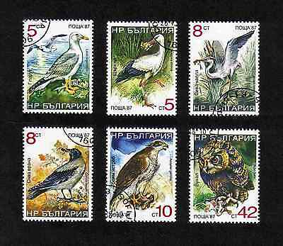 Stamps: Bulgaria 1988 Birds complete set of 6 values, used