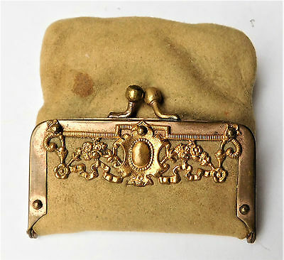 NO RESERVE Small Victorian Leather Coin Purse Vintage Antique