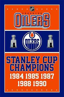 FOR NHL Edmonton Oilers Flag 3X5ft NHL Stanley Cup Champions Banner flags 2-1