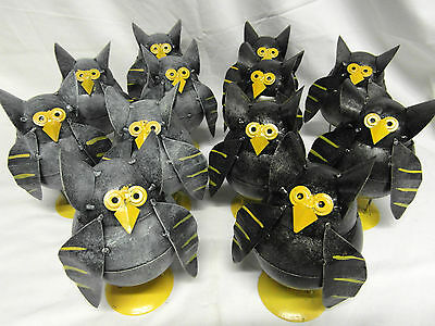 Owl Lovers? Job Lot 12 Funky Novelty Comical Metal Owls / Free Standing