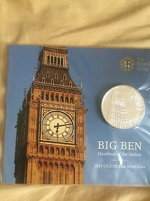 Big Ben 2015 UK £100 Fine Silver Coin ***Brand New & Sealed***