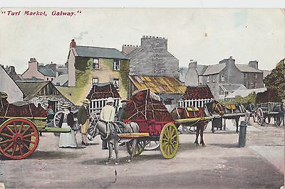 Turf Market Galway 1910 Northern Pub. Office Horses and Carts Postcard
