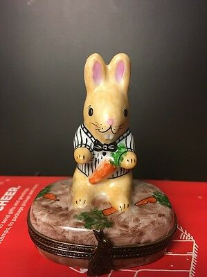 France Limoges Peint Main Rabbit with Carrot Hinged Trinket Box