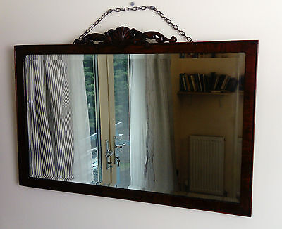 Beautiful Antique Victorian Mahogany Bevelled Glass Wall Mirror
