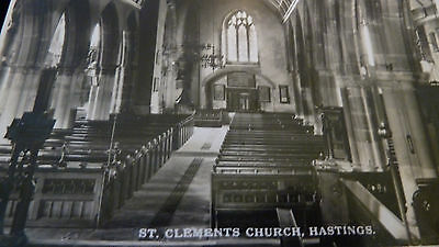 Old Rp Postcard Interior Of St Clements  Church Hastings