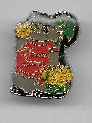 Vintage Cute Gray Skunk HEAVEN SCENT old enamel pin