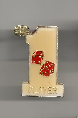 Vintage #1 Craps Shooter Player Dice Roller Player old enamel pin