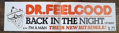 Original Dr. Feelgood - Back In the Night UA Promo Banner. UP 35857. EXC