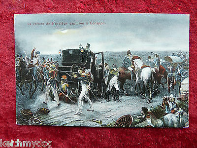 The Capture of Napoleon's Carriage at Genappe-Original Vintage Military Postcard