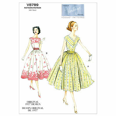 RETRO DRESS SEWING PATTERN ,50s fifties style Vintage Vogue size 6 ...