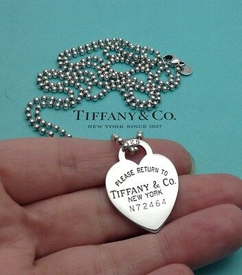 """Tiffany & Co. Sterling Silver 'Return To Tiffany' Heart Tag 34"""" Bead Necklace"""