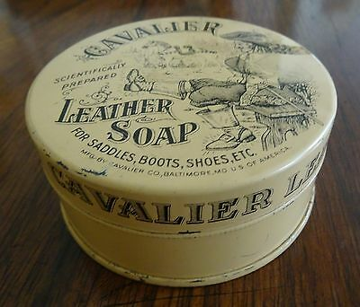 Cavalier Leather Soap Tin Baltimore with Contents Kiwi Polish Co Has some Marks