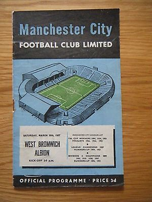 1956 / 1957 MANCHESTER CITY v WEST BROMWICH ALBION FOOTBALL PROGRAMME