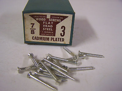 """#3 x 7/8"""" Flat Head Wood Screws Slotted Cadmium Plated Made in USA Qty 144"""