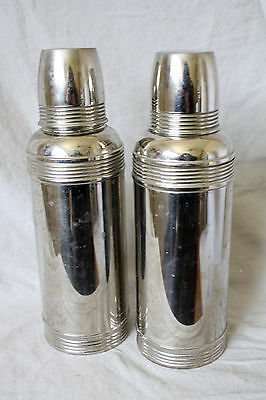 Vintage Stainless Steel Thermos Travel Two American Thermos Bottles Leather Case