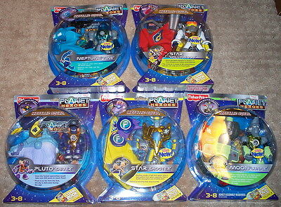 Fisher Price Planet Heroes Lot 5 Figs Metallic Squad Moon Neptune Star Pluto Moc