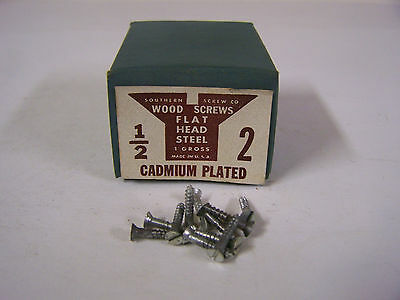 """#2 x 1/2"""" Flat Head Wood Screws Slotted Cadmium Plated Made in USA Qty 144"""