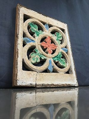 Antique/vintage Colonial Indian Raj. Small Carved Wooden Jali Panel. Coral/jade