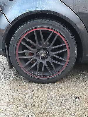 """VW Golf MK4 Alloy Wheels 18"""" Inch 5x100 Mint Condition Black With Red Lip 8J"""