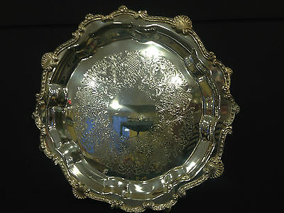 "Ornate Footed 14"" Diameter Sheridan Silver Plate Tray"