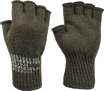 Olive Drab Tactical Fingerless Military Glove Liner Inserts Wool Gloves USA Made