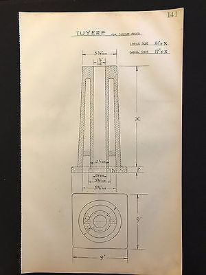 Harland & Wolff - 1930's Shipyard Eng. Drawing, TUYERE FOR SMITHY FIRES  (P141)