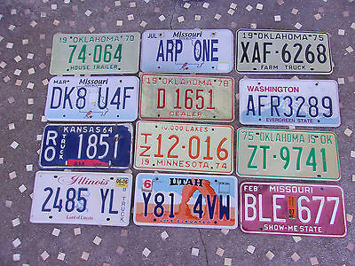 Mixed Lot 12 Old used License Plate Sign Exp. 1964-12 Man Cave Decor Craft Do