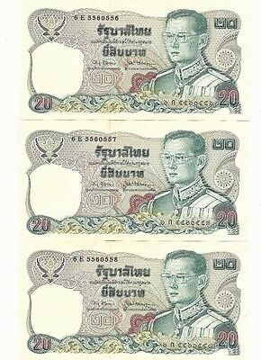Thailand 20 Baht X 3 pieces RUNNING & REPEATER note SN#0556