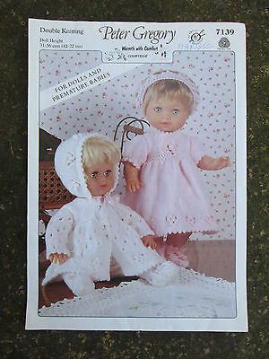 Peter Gregory Doll Premature Baby Outfits DK knitting pattern booklet 1995