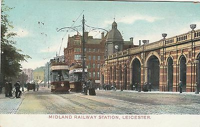 Printed Postcard. Railway Station.  LEICESTER. Posted 1908.
