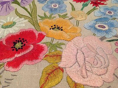 Vintage Hand Embroidered Picture Panel EXQUISITE RAISED FLOWERS