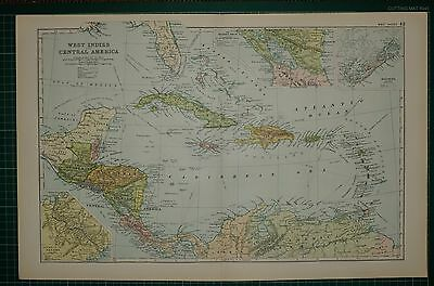 1905 Antique Map ~ West Indies & Central America Haiti Cuba Panama Bermuda