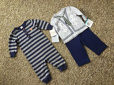 2 Outfits Carter Navy Gray Knit & Little Me Infant Gray Faux Tie Shirt 2 PC NWT