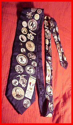Vintage Political Pinback Buttons Imagery All Silk Men's Necktie Tie GREAT GIFT!