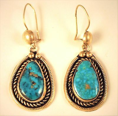 Vintage Antique Navajo Native Pawn Earrings Sterling Silver Royston Turquoise