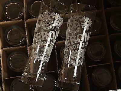 24 x PERONI BEER 1 PINT TALL GLASSES, NUCLEATED - USED