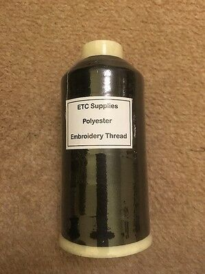 Polyester Embroidery Thread 5000m NEW ETC Black