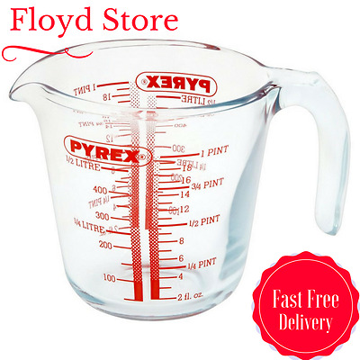 Pyrex Glass Measuring Jug, 0.5L Borosilicate Glass Ovenproof Dishwashe Safe NEW