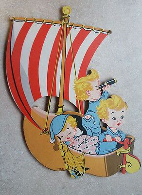 1957 Vintage Wynken Blynken And Nod Wall Hanging Nursery Decor The Dolly Toy Co.