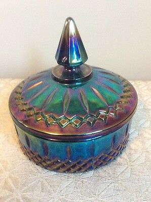 Vintage Chic Blue Purple Carnival Glass Vanity Candy Dish Lid Shabby Indiana G32