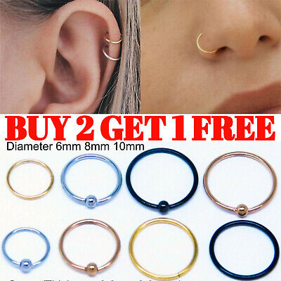 Nose Ring Tragus Helix Bar Ring Hoop Cartilage Ear Earring Small Thin Piercing