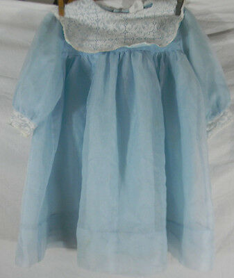 Vintage HoneySuckle Sears Girls 6 Blue Dress Lace Collar Made in USA Poly Nylon