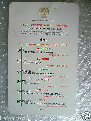 Menu- 1948 Cup Final BLACKPOOL v MANCHESTER - Civic Dinner Menu by Local Council