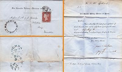 Gb : Qv Imperf Penny Red On East Lancashire Railway Postage Entire (1846)