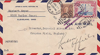 U.s.a. : Air Mail Cover To Imperial Airways, Croydon Field, England (1930)