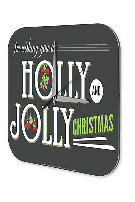 Wall Clock Christmas Decoration  Holly Jolly Christmas Acryl Acrylglass