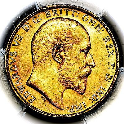 1907 King Edward VII Great Britain London Mint Gold Sovereign PCGS MS63
