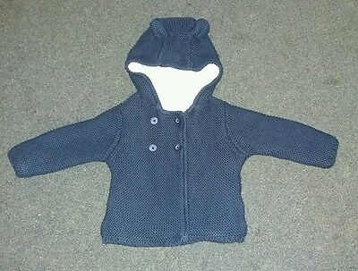Baby Boys M&s Navy Knitted Hoody Cardigan. 3-6Months