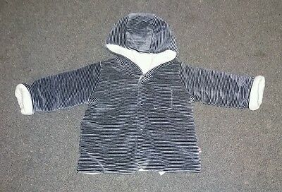 Baby Boy M&s Navy Stripe Velour Hooded Cardigan. 3-6Months